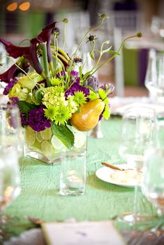 pears and limes incorporated in the centerpiece
