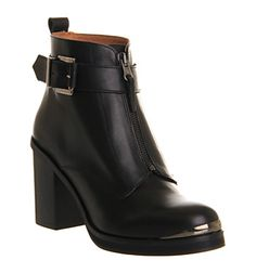 Office Boy Front Zip Black Leather - Ankle Boots