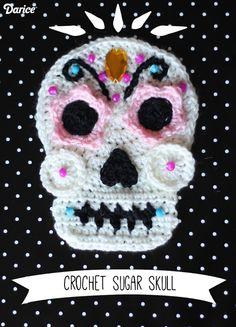 crochet skull, día de muertos, diy, pattern,