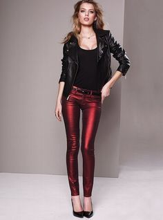 Black on red metallic outfit