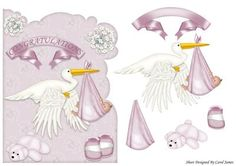 The Stork Brought Girl on Craftsuprint designed by Carol James - A shaped topper. Decoupage pieces for a 3d effect. - Now available for download!