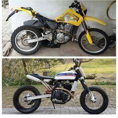 Kawasaki - Before & After - Scrambler - Cafe Racer Cafe Racer Moto, Cafe Racer Build, Cafe Racers, Tracker Motorcycle, Scrambler Motorcycle, Motorcycle Design, Bike Design, Dominator Scrambler, Moto Enduro