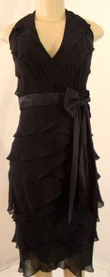 Sz 6 TADASHI Jet Black Tiered Ruffle Petal Chiffon SILK Halter Cocktail Dress