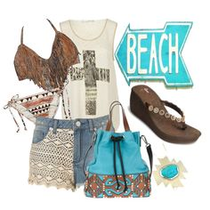 Let's go to the Beach, Each! Justin Flip Flops!, created by rachelclark on Polyvore