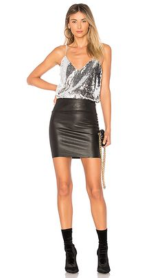Shop for Lovers + Friends Ever Bodysuit in Silver at REVOLVE. Leather Dresses, Leather Skirt, Silver Shirt, Lovers And Friends, Bodysuit, Sequins, Shoulder Straps, Chic, Embellishments