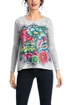 Desigual Martinica - T-shirt - Imprimé - Col rond - Manches longues - Femme