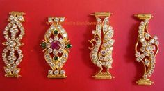 Latest Gold Mugappu/Mopu Designs studded with CZs and Gemstones - Latest Indian Jewellery Designs Kids Gold Jewellery, Real Gold Jewelry, Gold Jewelry Simple, Gold Jewellery Design, India Jewelry, Latest Jewellery, Kids Jewelry, Gold Chain Design, Gold Earrings Designs