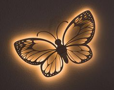 Mariposa colgante de pared acento luz - lámpara polilla de Luna monarca Swallowtail naturaleza insectos Bug tema guardería nocturna infantil luz de noche de madera