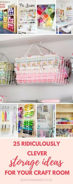 If you're in need of craft storage ideas for your craft room then this list is exactly what you need to read! This post has small space craft storage ideas galore, for utilizing every inch of available space in your craft room storage Craft Room Storage, Sewing Room Storage, Sewing Room Organization, Organization Ideas, Craftroom Storage Ideas, Craft Room Organizing, Yarn Storage, Craft Storage Ideas For Small Spaces, Storage Baskets