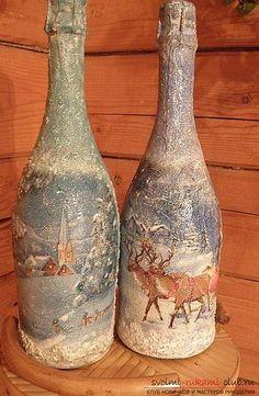 Роспись по стеклу бутылки на тему новогодней тематики своими руками - мастер-класс. Фото №2