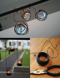 33 Awesome Wire Crafts to Make Cool Stuff . Wire Crafts, Crafts To Make, Fun Crafts, Diy Candle Holders, Diy Candles, Garden Candles, Hanging Candles, Ideias Diy, Crafty Craft