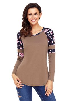 Women Brown Floral Varsity Stripe Long Sleeve Top Plus Size Blouse Shirts Dress Long Sleeve Tops, Long Sleeve Shirts, Neue Outfits, Brown Floral, Blouse Outfit, Trends, Plus Size Blouses, Lace Sleeves, Casual Tops