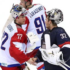 Sergei Bobrovsky and Jonathan Quick shake hands following #TeamUSA and #TeamRussia's epic match-up.