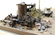 Detail of cluttered corner Ho Trains, Model Trains, Logging Equipment, 3d Modelle, Military Modelling, Military Diorama, Model Train Layouts, Scenery, Engineering