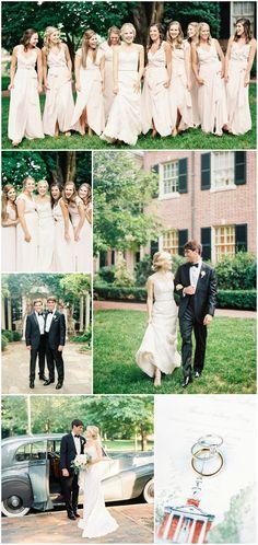 Classic wedding fashion, black-tie groomsmen, tuxedos, pink bridesmaids, long dresses, traditional wedding // Nancy Ray Photographers