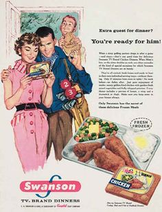 Gerry Thomas, a salesman at US food company Swanson, invents the TV dinner. Description from thisismoney.co.uk. I searched for this on bing.com/images