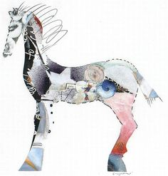 jacqui wegren - collage: painted pony no. 3 in a series (sold)