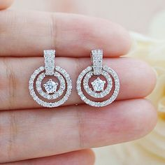 Cubic Zirconia Bridal Earrings Bridesmaid Earrings from EarringsNation Pearl Jewelry, Wedding Jewelry, Diamond Jewelry, Diamond Earrings, Bridesmaid Earrings, Wedding Earrings, Piercing, Gold Earrings Designs, Nordstrom