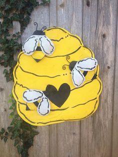 Bright Yellow Bee Hive Screen Door hanger by doornament on Etsy