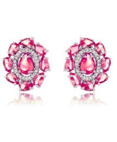 brinco pequeno rubi com zirconias cristais e banho de rodio semi joias de luxo