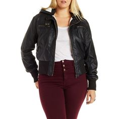 Charlotte Russe Plus Size Black Moto Jacket with Detachable Hood by... ($43) ❤ liked on Polyvore featuring plus size fashion, plus size clothing, plus size outerwear, plus size jackets, black, black biker jacket, biker jacket, moto jacket, leather moto jacket and womens plus size leather jackets
