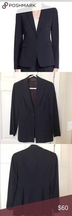 Tahari navy blue Darcy one button blazer. Tahari navy blue Darcy one button blazer. With two fake pockets.  Perfect condition! Like theory.  Classic looking! Tahari Jackets & Coats Blazers