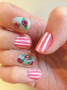Pinterest inspired floral.   #nails #nailart #gelish #gelishart #handpainted #gelishnailart #nailsbykatdog