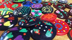 Hand Painted Buttons  Painted Vintage Button  Handcrafted