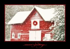 Red Home In Winter Holiday Greeting Card - Discount Greeting Cards