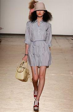 Marcelle stripe shirt dress.