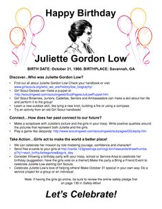Juliette Gordon Low Birthday Bash - Perfect for the troop that goes to the same school she did!