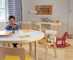 Furniture Furniture Decorating Project For Fine Childrens Furniture With Round Table Picture Furniture Design Of Green Kids Playroom Ideas Kids Furniture, Furniture Design, Nursery Inspiration, Kid Spaces, Nursery Decor, Kids Room, Desk, Interior, Projects