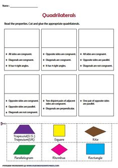 Cut and Paste Activity Geometry Worksheets, Math Worksheets, Introduction To Geometry, Secondary Math, Cut And Paste, Maths, School Stuff, Teaching Ideas, Middle School