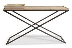 Consola en hierro y madera, con bandeja de madera. Medidas; 140x40xh.85