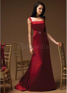 Noble Burgundy Satin Spaghetti Straps A-Line Evening Dress (bridesmaid gown?)