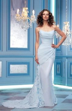 Is anyone wearing/did any married bees wear a French blue wedding dress? If so, please, please, please post a picture of it and tell me who the design Wedding Dresses Second Marriage, Baby Blue Wedding Dresses, Light Blue Wedding Dress, Ruched Wedding Dress, Baby Blue Weddings, Hourglass Wedding Dress, Bridesmaid Dresses, Bridal Gowns, Wedding Gowns