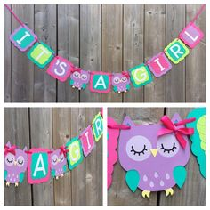 IT'S A GIRL Owl banner, pink purple owl banner, baby shower decoration, pink purple green owl baby shower banner, gender reveal – 2019 - Baby Shower Diy Baby Girl Shower Themes, Girl Baby Shower Decorations, Girl Decor, Decoracion Baby Shower Niña, Owl Banner, Do It Yourself Baby, Shower Bebe, Owl Shower, Shower Banners