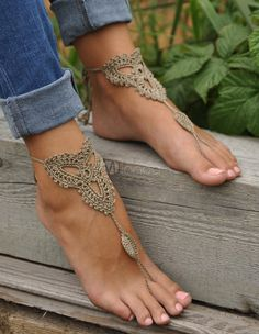Crochet Tan Barefoot Sandals Nude shoes Foot jewelry by barmine Foot Jewelry Wedding, Beach Foot Jewelry, Sandals Wedding, Yoga Jewelry, Crochet Barefoot Sandals, Barefoot Shoes, Nude Shoes, Shoes Sandals, Victorian Lace