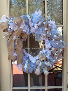 Baby Boy Wreath Nursery Wreath Burlap Shower by Cindyswreathsand Baby Door Wreaths, Baby Boy Wreath, Diy Wreath, Burlap Wreath, Wreath Making, Baby Boy Shower, Baby Shower Gifts, Burlap Shower, Deco Mesh Wreaths