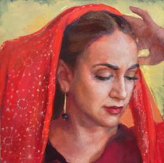 RAFAELLA AND THE SILK SCARF by Miranda Girard $3,000.00 (2017) Oil on Canvas  SKU: MG 065 | 24 x 24  Gallery-wrapped canvas with gold sides. Framing optional.
