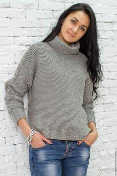Купить Модный свитер. Шерсть100%. Копия Max Mara - серый, шерсть 100%, alize…