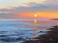 Sunrise on the Ocean, Realistic acrylic painting of ocean sunrise, Original Acrylic Painting by Maine seascape artist Varvara Harmon