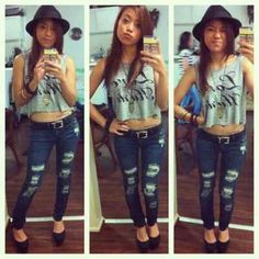 Gray Crop Tee No Sleeves. Ripped Jeans. Black Heels And Hat. Teen Fashion. By-Lily Renee♥ follow (Iheartfashion14).