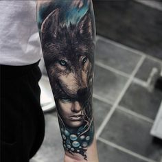 Men's Wolf Eyes Tattoo
