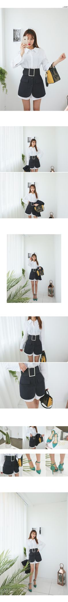 Shirt Dress and Striped Skirt Set | DABAGIRL, Your Style Maker | Korean clothes, bags&shoes, accessories, cosmetics