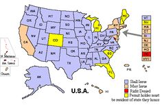 Handgun laws in the US with hyperlinks to each state. Also tells you which other states honor the permit from your home state.