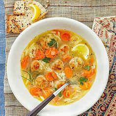 Lemon, Orzo, and Meatball Soup