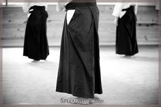 Hakama are folded after practice to preserve the pleats.