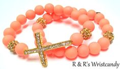 Neon Orange Cross Beaded Bracelet by RandRsWristCandy on Etsy, $9.00