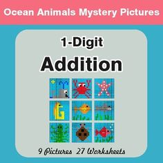 Ocean Animals Theme!9 Mistery Pictures with 27 Worksheets.Each worksheet includes 10 unique problems.50% OFF for the first day!Directions: Solve the math problem, look at the color next to it, and then color in ALL of the squares that have that answer.Please CLICK HERE to view other Mystery Pictures products